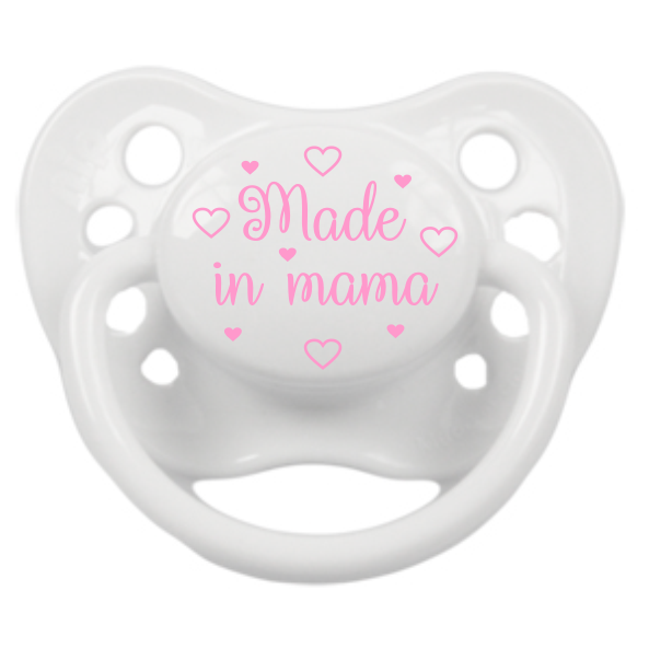 Fopspeen Made in Mama - Wit - Roze - M2
