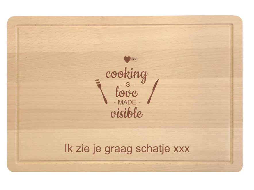 Snijplank beuk-Cooking is love.png